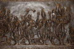 Figuras cinzeladas, templo de Ramappa, Warangal, estado de Telangana da Índia foto de stock royalty free