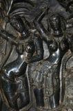Figuras cinzeladas, templo de Ramappa, Warangal, estado de Telangana da Índia imagens de stock