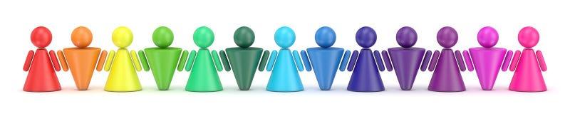 Figuras coloridas abstractas de la gente del símbolo en fila 3d Imagen de archivo libre de regalías