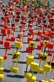 Figuras coloridas do brinquedo na estrada Foto de Stock