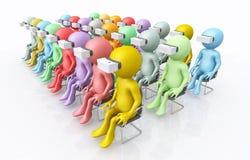 figuras 3D con los vidrios de la realidad virtual libre illustration