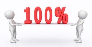 figuras 3D con símbolo del 100 por ciento en un tablero libre illustration
