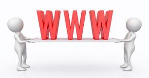 figuras 3D con símbolo del World Wide Web en un tablero stock de ilustración