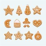 Figuras da coleção das cookies do Natal ilustração royalty free