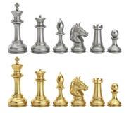 Figuras da xadrez do ouro e da prata na fileira, rendição 3D ilustração royalty free