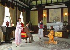 Figuras de cera da família do último imperador fotografia de stock royalty free