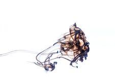 Figuras de color marrón oscuro abstractas de la tinta en agua Foto de archivo libre de regalías