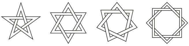 Figuras de estrela geométricas esboço Foto de Stock