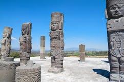 Figuras de la Atlántida en la vista arqueológica en Tula Fotos de archivo libres de regalías