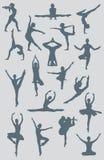 Figuras de la yoga del ballet de la danza Imágenes de archivo libres de regalías