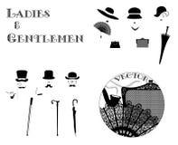 Figuras de las damas y caballeros con los accesorios Fotos de archivo