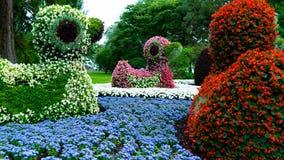 Figuras de los patos hechos de las flores Foto de archivo
