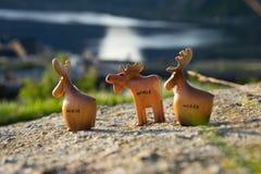 Figuras de madeira alces Imagem de Stock