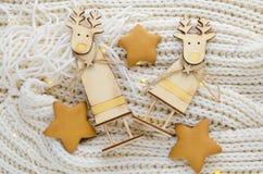 Figuras de madeira de cervos do Natal Foto de Stock