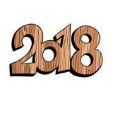 2018 figuras de madeira do ano novo ilustração stock
