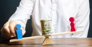 Figuras de madeira do homem e das mulheres nas escalas Conceito da diferença de pagamento de gênero Desigualdade da renda opress? foto de stock royalty free