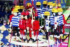 Figuras de madera de Pinocchio Fotos de archivo