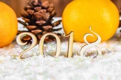 Figuras de madera de 2018 en nieve Atmósfera de la Navidad el Año Nuevo 2018 Mandarines y conos Imágenes de archivo libres de regalías
