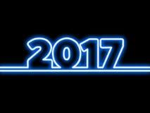 Figuras de neón del diseño de la Feliz Año Nuevo 2017 con las luces Fondo de la tarjeta de felicitación fotografía de archivo libre de regalías