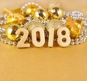 figuras de oro de 2018 años Foto de archivo libre de regalías