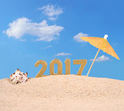 figuras de oro de 2017 años con la concha marina Fotos de archivo libres de regalías