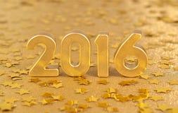figuras de oro de 2016 años y de estrellas de oro Imagen de archivo libre de regalías
