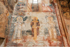Figuras de Saint históricos no fresco de Gelati complexo monástico medieval, local do patrimônio mundial do UNESCO foto de stock royalty free