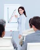 Figuras de vendas bonitas do relatório da mulher de negócios Imagem de Stock Royalty Free
