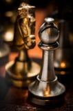 Figuras del ajedrez en la tarjeta que juega Imagenes de archivo
