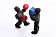 Figuras del boxeo del plasticine Fotos de archivo libres de regalías