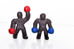 Figuras del boxeo del plasticine Fotos de archivo