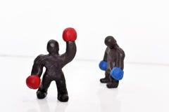 Figuras del boxeo del plasticine Fotografía de archivo