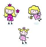 Figuras del doodle de la puntada linda de la princesa y de la hada fijadas. Imagen de archivo