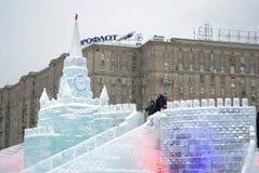 Figuras del hielo en Moscú Modelo de Moscú el Kremlin Imágenes de archivo libres de regalías