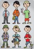 Figuras del hombre de la historieta en varios pasatiempos libre illustration
