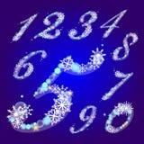 Figuras del invierno con los copos de nieve Fotos de archivo