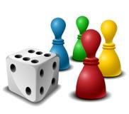 Figuras del juego de mesa con los dados Imagen de archivo libre de regalías