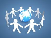 figuras del palillo de los hombres 3d alrededor de un globo Imagen de archivo libre de regalías