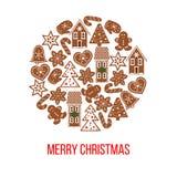 Figuras del pan de jengibre de la Navidad en forma de la chuchería Imágenes por la Navidad y el Año Nuevo 2017 Fotos de archivo
