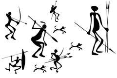 Figuras do caçador primitivo ilustração royalty free