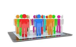Figuras do grupo de pessoas no PC da tabuleta Fotos de Stock Royalty Free