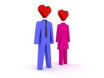Figuras do homem e da fêmea no amor. Fotografia de Stock