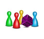 Figuras do jogo de mesa com dados roxos ilustração royalty free