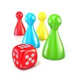 Figuras do jogo de mesa com dados vermelhos 3d rendem Foto de Stock Royalty Free
