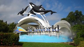 Figuras do sinal e da baleia de Seaworld no fundo nebuloso lightblue 1 video estoque