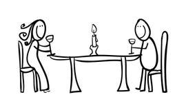 Figuras dos pares que têm um jantar Imagens de Stock Royalty Free