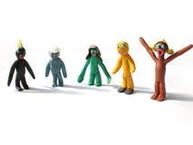 Figuras dos povos do Plasticine que dizem olá! fotos de stock