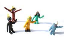 Figuras dos povos do Plasticine que dizem olá! imagem de stock