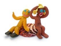 Figuras dos povos do Plasticine que dizem olá! imagens de stock royalty free