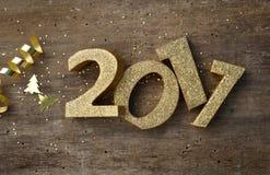 Figuras douradas 2017 Imagens de Stock